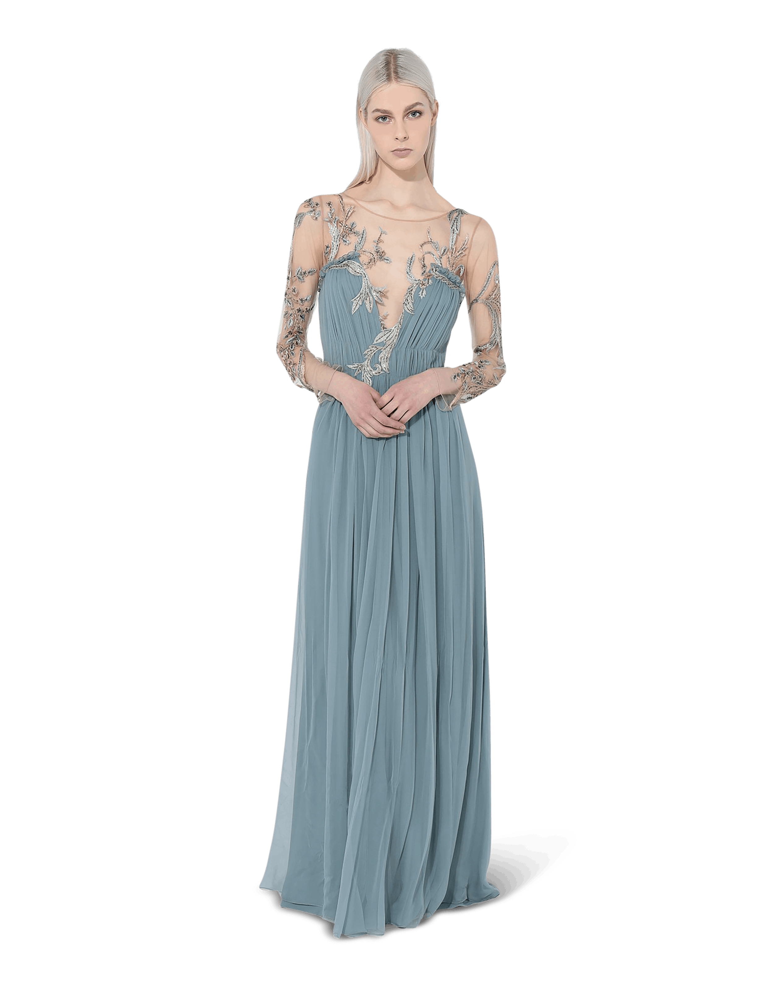 Long Chiffon Dress With Floral Embroidery