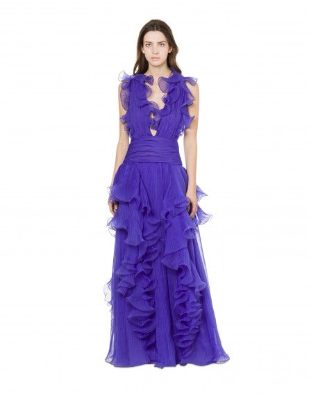 Purple dress with ruffles