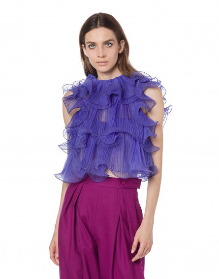 Crop top in chiffon con ruches