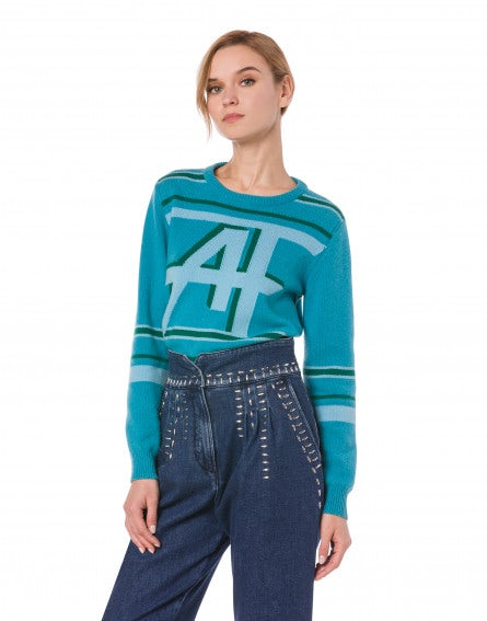 Pullover with turquoise AF logo