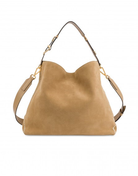 Split leather hobo bag with buckles