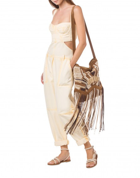 Shoulder bag with fringes and wood pearls