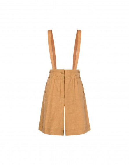 Linen dungaree trousers