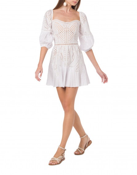 Poplin mini dress with Sangallo embroidery
