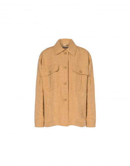 Linen jacket with wood buttons