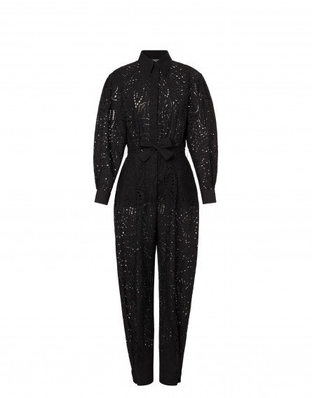 Jumpsuit with all-over Sangallo embroidery