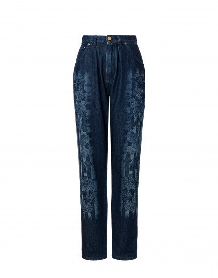 Printed denim trousers