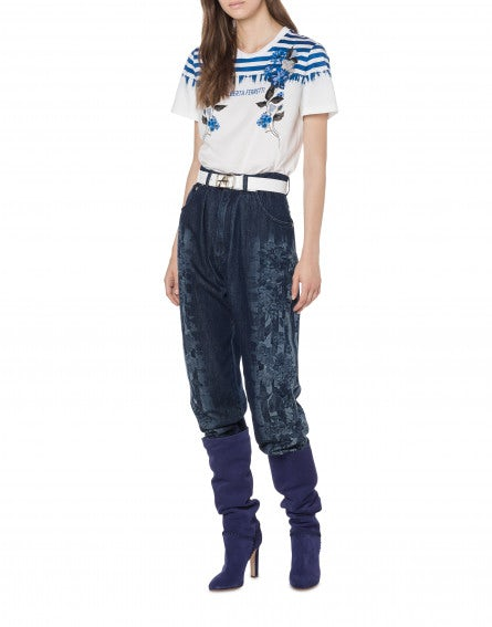 Printed denim pants