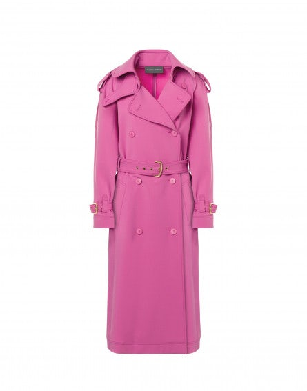Stretch wool gabardine trench coat