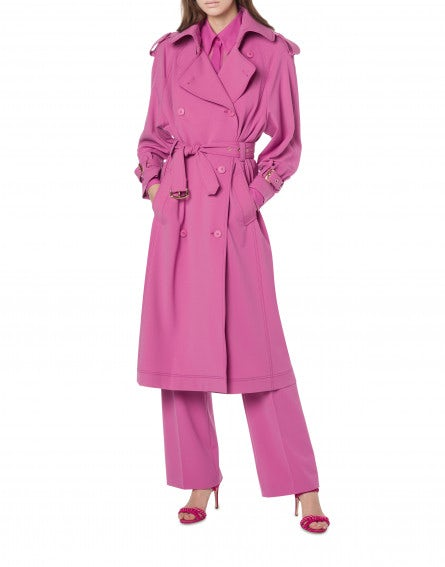 Trench in gabardina di lana stretch