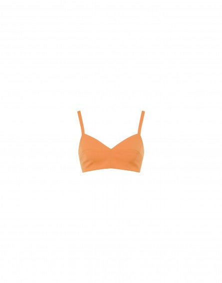 Orange stretch gabardine bra
