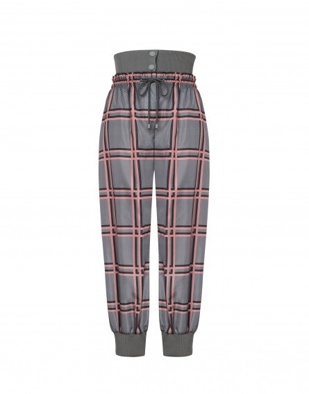 Pink Grid Athleisure jogging trousers