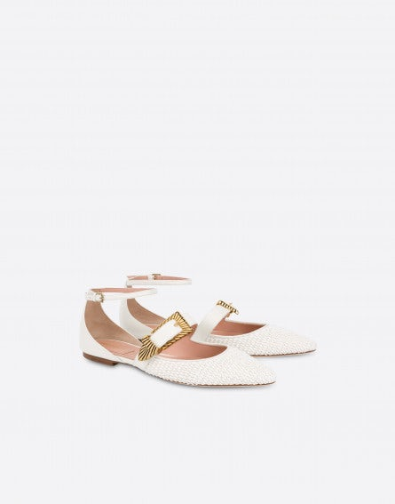 Raffia ballet flats with strap