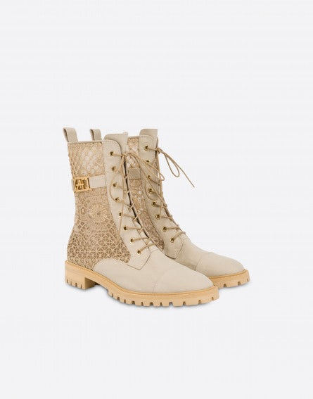 Combat boots in canvas and AF macramé