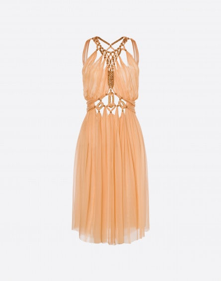 Chiffon dress with wood pearls