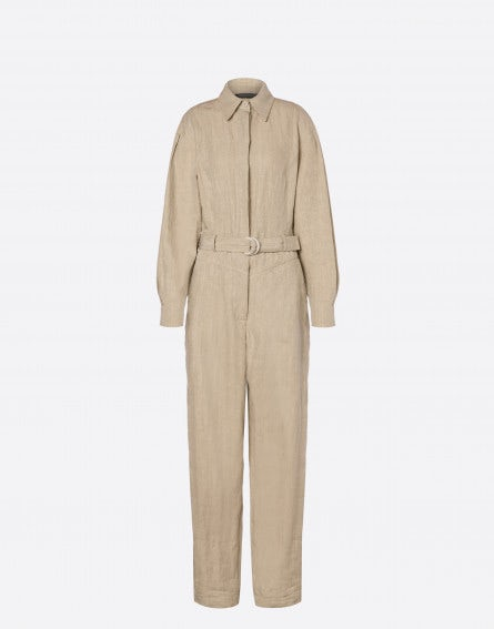 Linen jumpsuit with belt