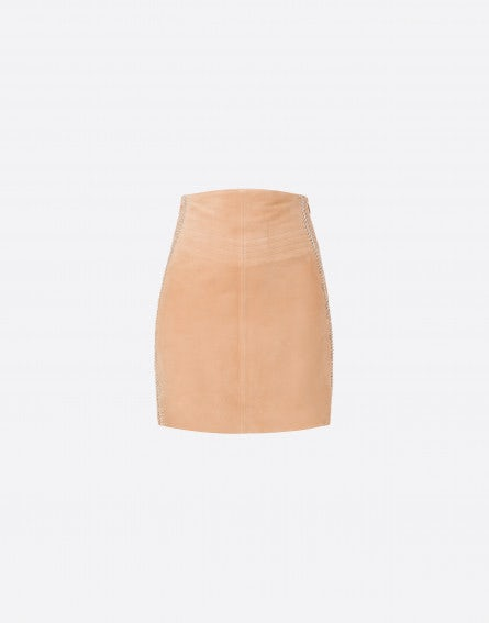 Suede miniskirt with trim
