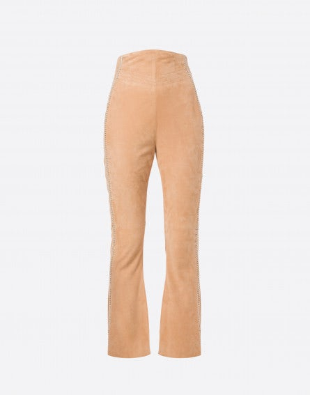 Suede flared pants with trim