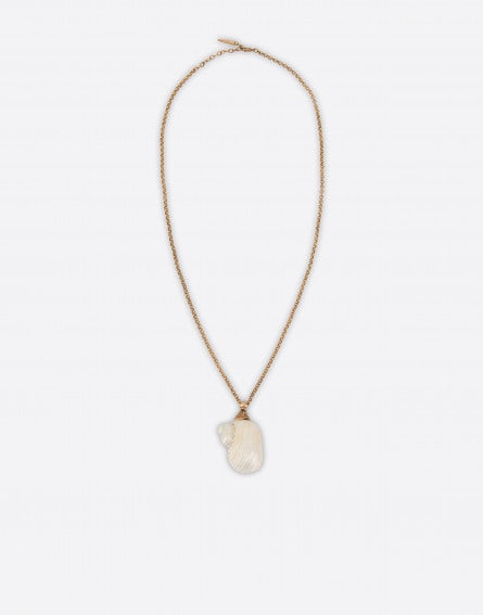 Gold necklace with mother of pearl shell
