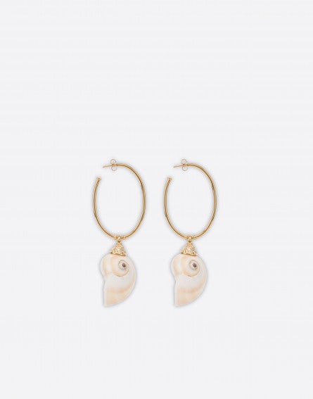 Gold earrings with mother of pearl shell