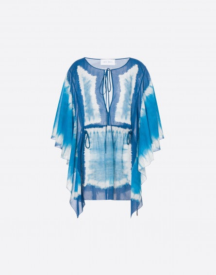 Tie Dye mini dress in cotton muslin