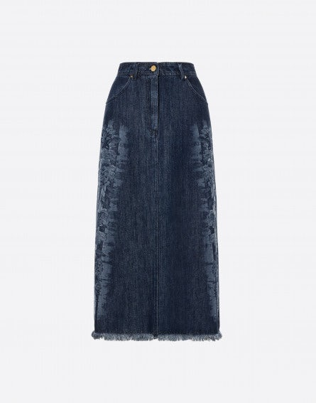 Floral Frame denim skirt