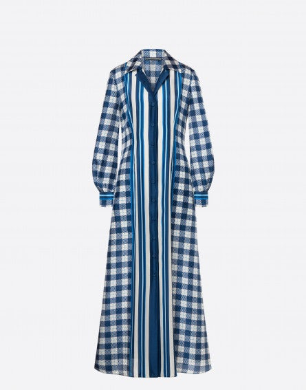 Stripes & Checks habotai dress