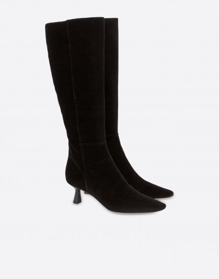 Evening velvet to-the-knee boots