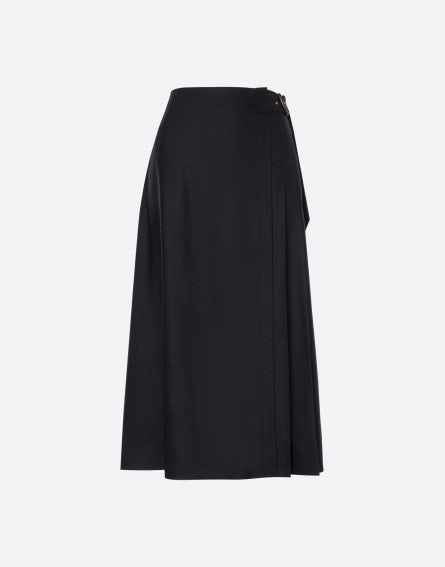 Flannel skirt with pleats