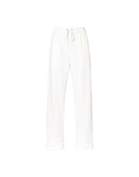 White fleece joggers