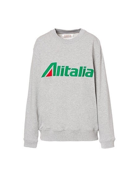 Gray sweatshirt with embroidered Alitalia logo