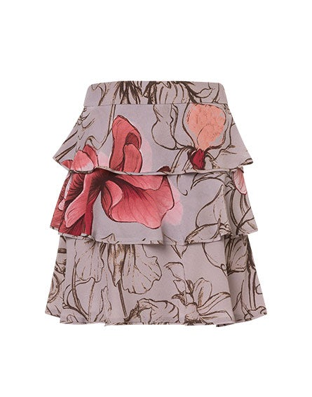 Crêpe de chine Floating Flower miniskirt