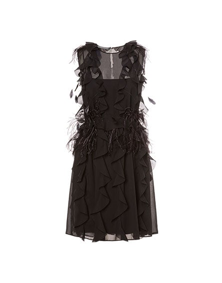 Chiffon minidress with feathers
