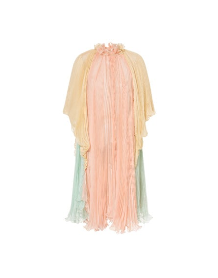 Pleated chiffon cape dress