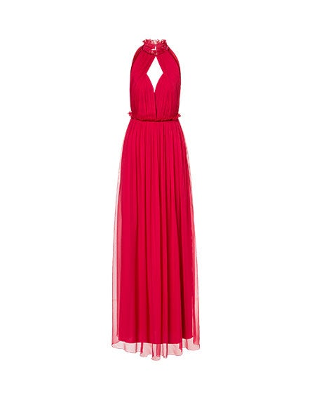 Chiffon dress with mini frills