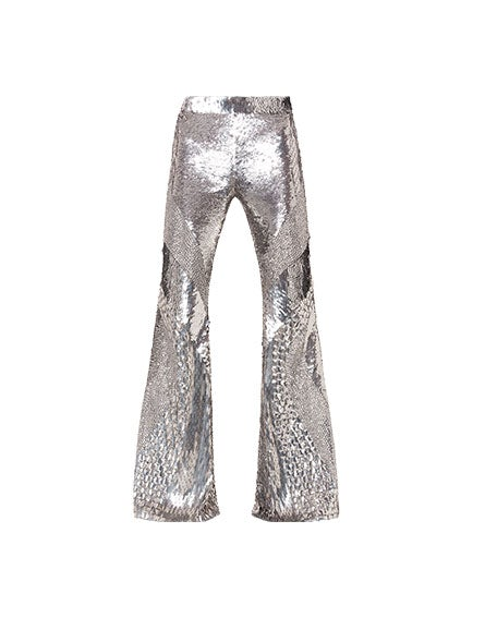 Satin trousers with sequins