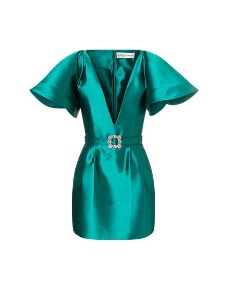 Mikado minidress with jewel buckle