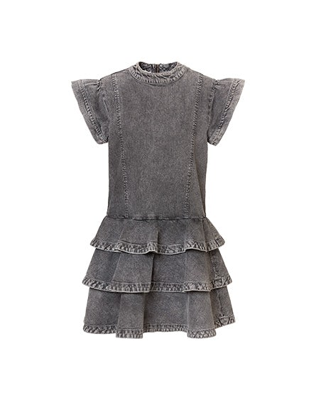 Grey bleached denim minidress