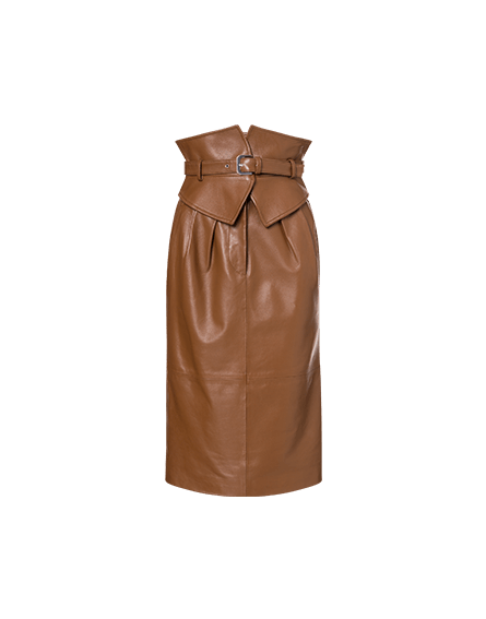 Nappa skirt with belt