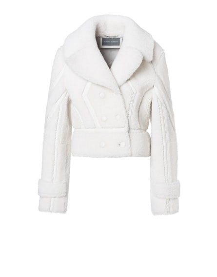 Double-breasted shearling jacket