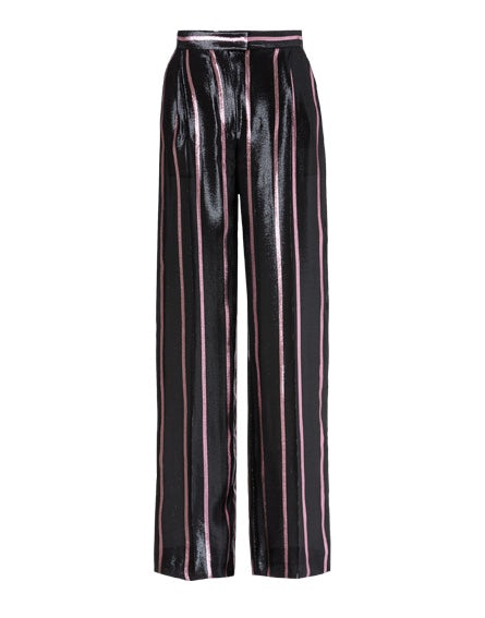Striped trousers in lurex