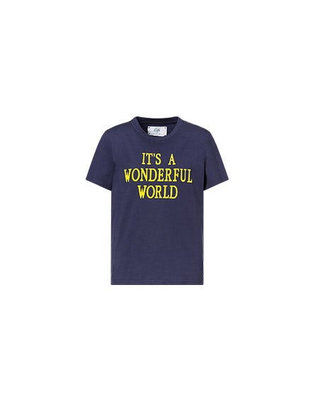 Camiseta azul It's A Wonderful World