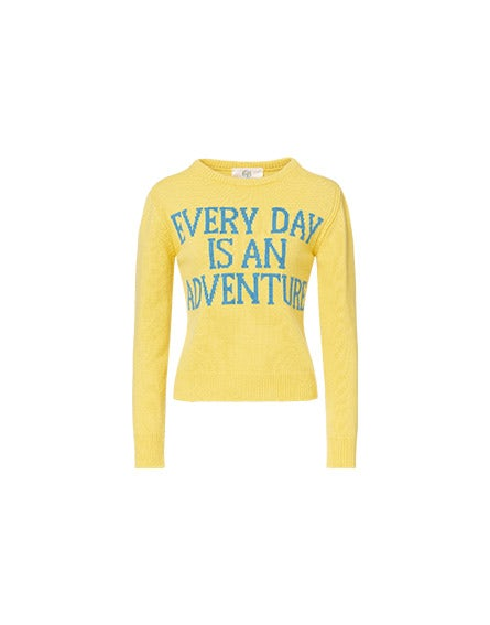 Everyday Is An Adventure yellow pullover