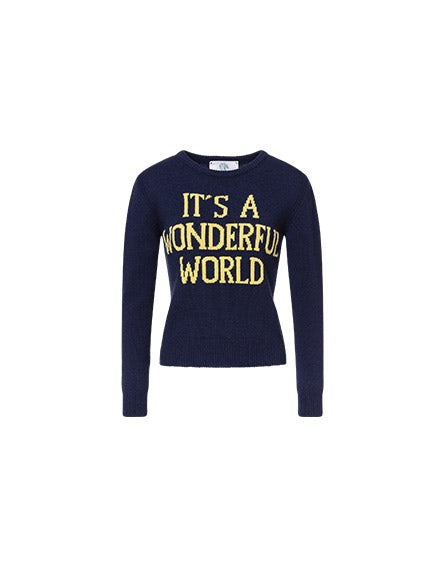 It's A Wonderful World blue pullover