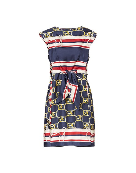 Marine Logo mini dress in silk twill