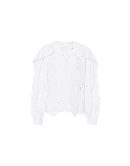 Muslin blouse with broderie anglaise