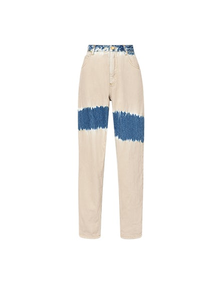 Tie & Dye beige denim trousers