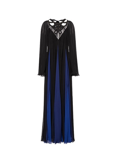 Black and blue chiffon dress