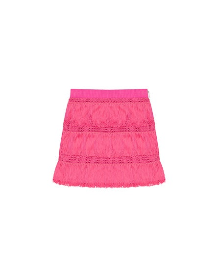 Junior pink skirt with fringing