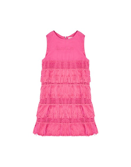 Junior pink dress with fringing